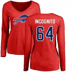 Women's Richie Incognito Buffalo Bills Name & Number Logo Slim Fit Long Sleeve T-Shirt - Red